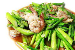 STIR FRIED PRAWNS WITH ASPARAGUS Royalty Free Stock Photography
