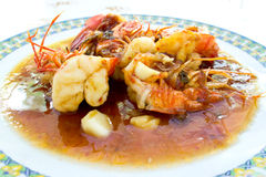 Stir-fried prawns with tamarind sauce Stock Images