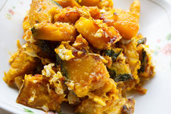 Stir-fried pumpkin with egg royalty free stock photo