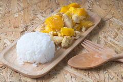 Stir fried pumpkin with egg and rice Stock Images
