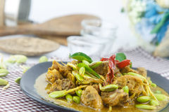 Stir fried riang parkia seed with chicken Royalty Free Stock Image