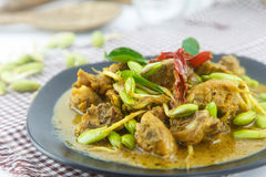 Stir fried riang parkia seed with chicken Stock Photos