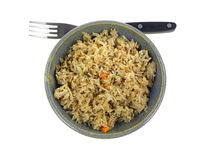Stir Fried Rice Bowl Fork Top View Royalty Free Stock Photography