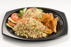 Stir-fried rice with chicken Royalty Free Stock Images