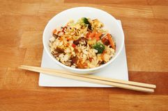 Stir fried rice on a tabletop stock image