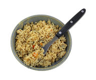 Stir Fried Rice on Fork in Bowl Royalty Free Stock Photos