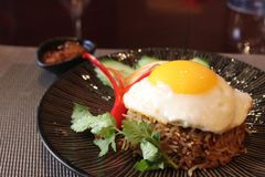 Nasi Goreng. Stir fried rice with garlic chicken and shrimps with egg on top stock photos