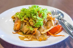 Stir fried  rice noodle with chicken. Thai food Stock Images
