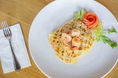 Pad Thai shrimp with egg wrap royalty free stock photo