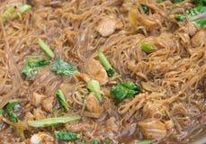 Stir fried rice noodle on pan (Korat stir fried noodle) Royalty Free Stock Image
