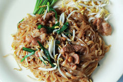 Stir fried rice noodle on plate. Royalty Free Stock Photo