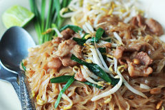 Stir fried rice noodle on plate. Stock Image