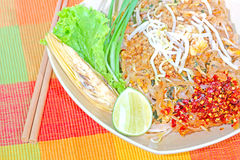 Stir fried rice noodle. On plate Royalty Free Stock Photos