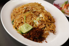 Stir fried rice noodle on plate Royalty Free Stock Photography
