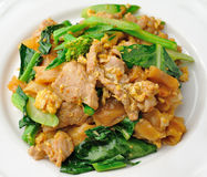 Stir Fried Rice Noodle with pork Stock Photo