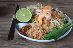 Stir-Fried Rice Noodle with Shrimps (Pad Thai), Thai Food, Thai Cuisine,Thai food rustic style,Asian Rice Noodles with Shrimps, Th Stock Image