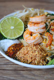 Stir-Fried Rice Noodle with Shrimps (Pad Thai), Thai Food, Thai Cuisine,Thai food rustic style,Asian Rice Noodles with Shrimps, Th Stock Photography