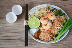 Stir-Fried Rice Noodle with Shrimps (Pad Thai), Thai Food, Thai Cuisine,Thai food rustic style,Asian Rice Noodles with Shrimps, Th Royalty Free Stock Photos