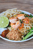 Stir-Fried Rice Noodle with Shrimps (Pad Thai), Thai Food, Thai Cuisine,Thai food rustic style,Asian Rice Noodles with Shrimps, Th Royalty Free Stock Photo