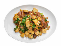 Stir Fried Rice Noodle with tofu Stock Image