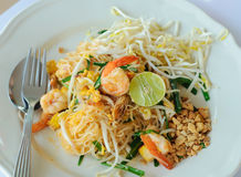 Stir-fried Rice Noodle With Shrimp Royalty Free Stock Images