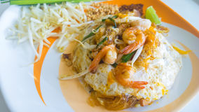 Stir-fried rice noodles with egg, vegetable and shrimp  Pad Thai Royalty Free Stock Image