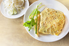 Stir-fried rice noodles(Pad Thai). Is the popular food in Thailand Stock Photos