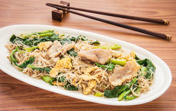Stir fried rice noodles with pork (Pad See Eiw). Stir fried rice noodles with pork, (Pad See Eiw) royalty free stock photo