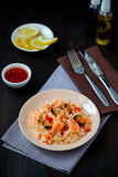 Stir fried rice noodles with prawns and mussels Royalty Free Stock Photo