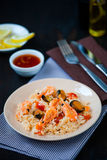 Stir fried rice noodles with prawns and mussels Stock Image