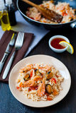 Stir fried rice noodles with prawns and mussels Royalty Free Stock Photos
