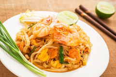 Stir fried rice noodles with shrimps, Pad Thai Stock Photos