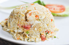 Stir-fried rice with shrimp and vegetable Royalty Free Stock Photo