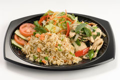 Stir-fried rice with thai basil chicken Stock Photo