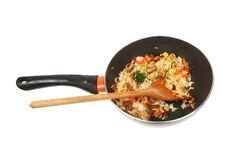 Stir fried rice in a wok royalty free stock image