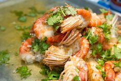 Stir fried river shrimp with pepper and garlic- Kung Pad Kratiem Prik Thai. royalty free stock photo