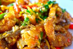 Stir Fried Sea Bass Is seafood That is spicy and very tasty. is a popula food royalty free stock photo