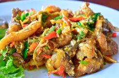 Stir Fried Sea Bass Is seafood That is spicy and very tasty. is a popula food royalty free stock images