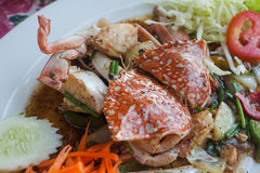 Stir fried sea crab with black pepper on white dish. Stir fried crab with black pepper on white dish, Sea food, Thai food Royalty Free Stock Photography