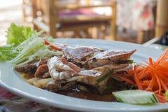 Stir fried sea crab with black pepper on white dish. Stir fried crab with black pepper on white dish, Sea food, Thai food Royalty Free Stock Photo