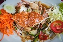Stir fried sea crab with black pepper on white dish. Stir fried crab with black pepper on white dish, Sea food, Thai food Stock Image