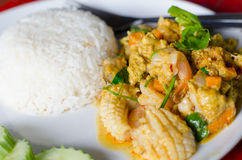 Stir Fried Seafood with Curry Powder. Stock Images