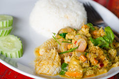 Stir Fried Seafood with Curry Powder. Royalty Free Stock Photo