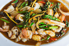 Stir Fried Seafood on Hot Plate. Royalty Free Stock Photos