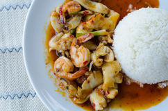 Stir Fried Seafood with Roasted Chili Paste Royalty Free Stock Photo