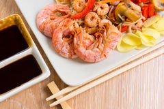 Stir-fried seafood and vegetables Royalty Free Stock Photo