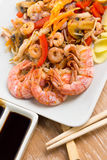 Stir-fried seafood and vegetables Stock Photos