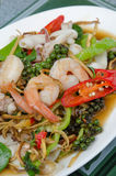 Stir fried seafood on white dish Royalty Free Stock Image