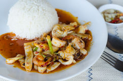 Stir Fried Seafood With Roasted Chili Paste Royalty Free Stock Photos
