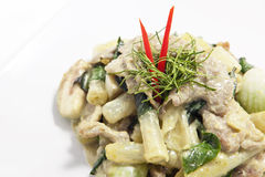 Stir fried Shanghai noodle with green curry Stock Images